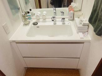 洗面リフォーム 飼い犬がすっぽり入って洗える深いボウルの洗面台